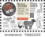 steak menu for restaurant and... | Shutterstock .eps vector #756822253
