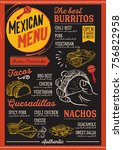 mexican menu for restaurant and ... | Shutterstock .eps vector #756822958