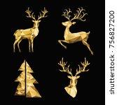 christmas polygonal  gold ... | Shutterstock .eps vector #756827200