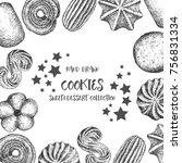 cookies background design...   Shutterstock .eps vector #756831334