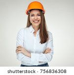 smiling confident woman builder ... | Shutterstock . vector #756836308