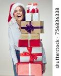 Happy Business Woman Santa Gir...