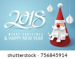 paper art of santa claus and... | Shutterstock .eps vector #756845914