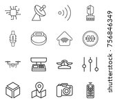thin line icon set   chip ... | Shutterstock .eps vector #756846349
