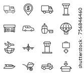 thin line icon set   truck ... | Shutterstock .eps vector #756846460