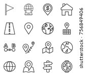 thin line icon set   flag ... | Shutterstock .eps vector #756849406