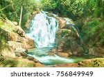 tiger waterfall in lam dong ...   Shutterstock . vector #756849949