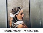 girl washing hair with shampoo... | Shutterstock . vector #756850186