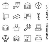 thin line icon set   gift ... | Shutterstock .eps vector #756853774