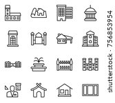 thin line icon set   mansion ... | Shutterstock .eps vector #756853954