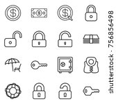 thin line icon set   dollar ... | Shutterstock .eps vector #756856498