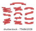 flat vector ribbons banners... | Shutterstock .eps vector #756861028