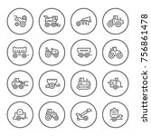 set round line icons of... | Shutterstock .eps vector #756861478