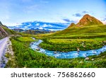 mountain river valley path... | Shutterstock . vector #756862660