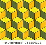 vector tumbling blocks quilt... | Shutterstock .eps vector #756864178