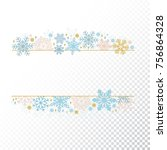 snow flake frame  decoration on ... | Shutterstock .eps vector #756864328