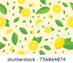 seamless pattern with lemon and ...   Shutterstock .eps vector #756864874