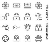 thin line icon set   dollar ... | Shutterstock .eps vector #756865468