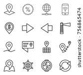 thin line icon set   pointer ... | Shutterstock .eps vector #756865474