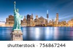 the statue of liberty with... | Shutterstock . vector #756867244
