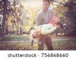 father spending time with... | Shutterstock . vector #756868660