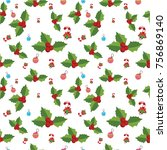 seamless pattern with santa... | Shutterstock .eps vector #756869140