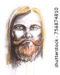 watercolor man portrait with... | Shutterstock . vector #756874810