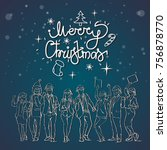 christmas greeting card with... | Shutterstock .eps vector #756878770