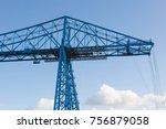 the transporter bridge over the ... | Shutterstock . vector #756879058