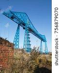 the transporter bridge over the ... | Shutterstock . vector #756879070