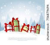 winter holiday poster gift... | Shutterstock .eps vector #756879694