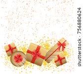 gift boxes on white background... | Shutterstock .eps vector #756880624