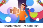 man hold gift box and wear... | Shutterstock .eps vector #756881704