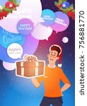 man hold new year present merry ... | Shutterstock .eps vector #756881770