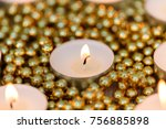 christmas candles with golden... | Shutterstock . vector #756885898