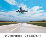 airplane taking off from the... | Shutterstock . vector #756887644