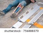 a man broke his leg in an... | Shutterstock . vector #756888370