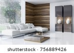 modern bright interiors. 3d... | Shutterstock . vector #756889426