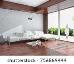 modern bright interiors. 3d... | Shutterstock . vector #756889444