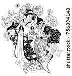 hand drawn geisha women hold... | Shutterstock .eps vector #756894148
