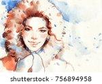 woman in fur coat. watercolor... | Shutterstock . vector #756894958