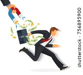 debt collector man with money... | Shutterstock .eps vector #756895900