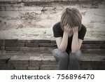 sad woman  lonely  sitting... | Shutterstock . vector #756896470