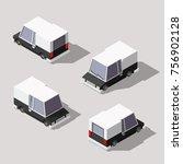 isometric cartoon van. low poly ... | Shutterstock .eps vector #756902128
