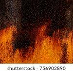 rusty metal surface partially... | Shutterstock . vector #756902890