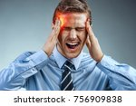businessman with pain in his... | Shutterstock . vector #756909838