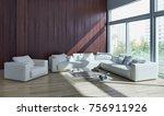 modern bright interiors. 3d... | Shutterstock . vector #756911926