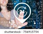 businessman hand press button... | Shutterstock . vector #756915754