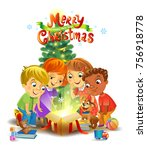 kids opening a magic gifts... | Shutterstock .eps vector #756918778