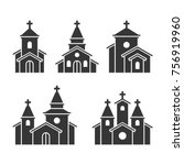 Church Building Icons Set On...